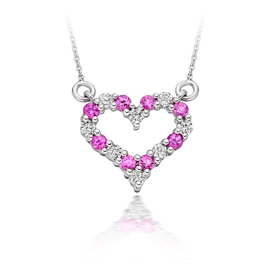 Diamond and Pink Sapphire Heart Pendant in 9k White Gold  £399 www.vashi.com