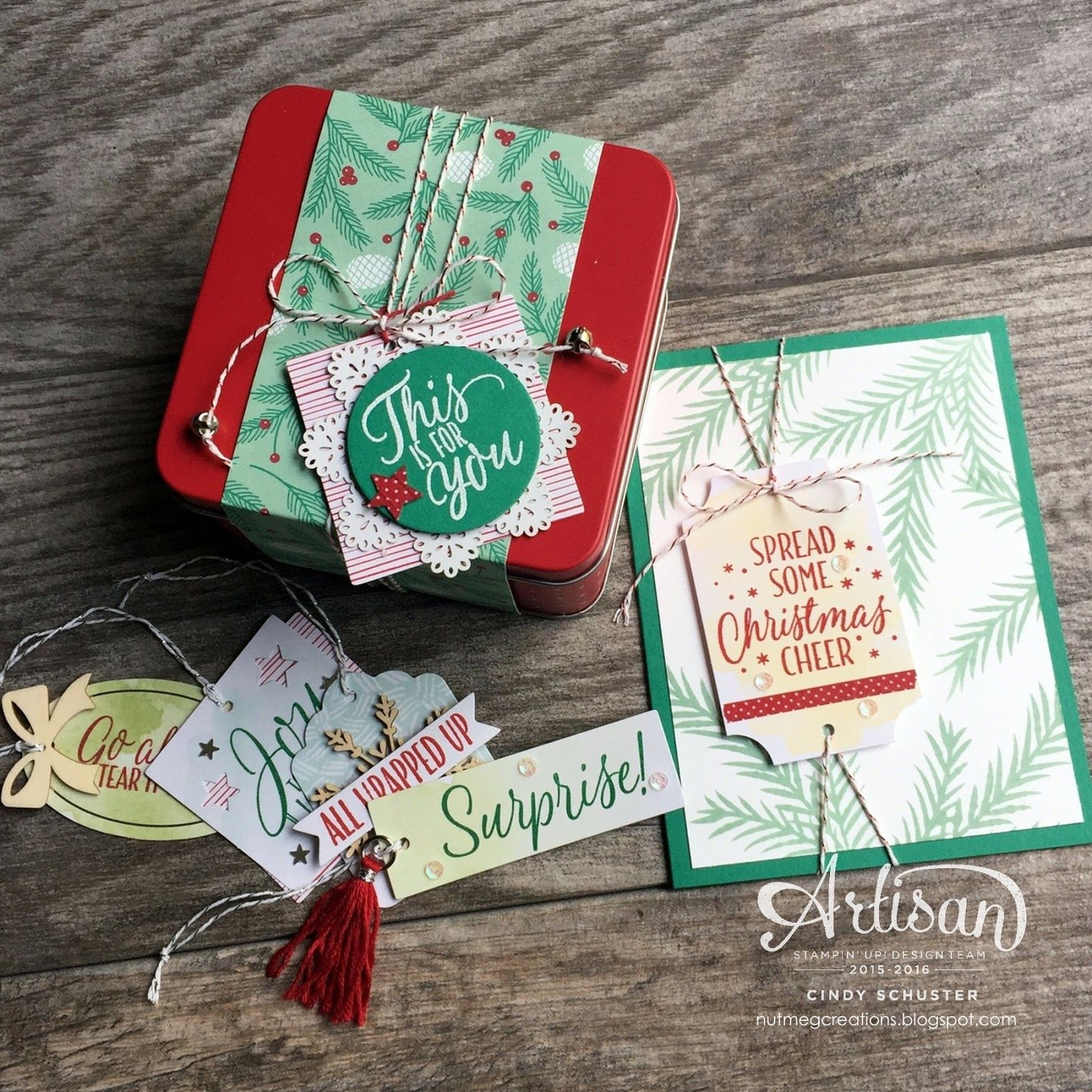 Welcome back to the 2015-2016 Stampin' UP Artisan Design Team Blog Hop! I am so blessed that I get to create and inspire with these ama.. SU -Tin of Tags stamp set and the Cheerful Tags Framelits.
