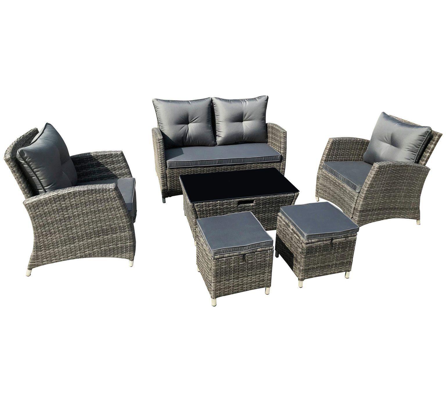 Home 6 Seater Rattan Effect Sofa Set Brown Sofa set