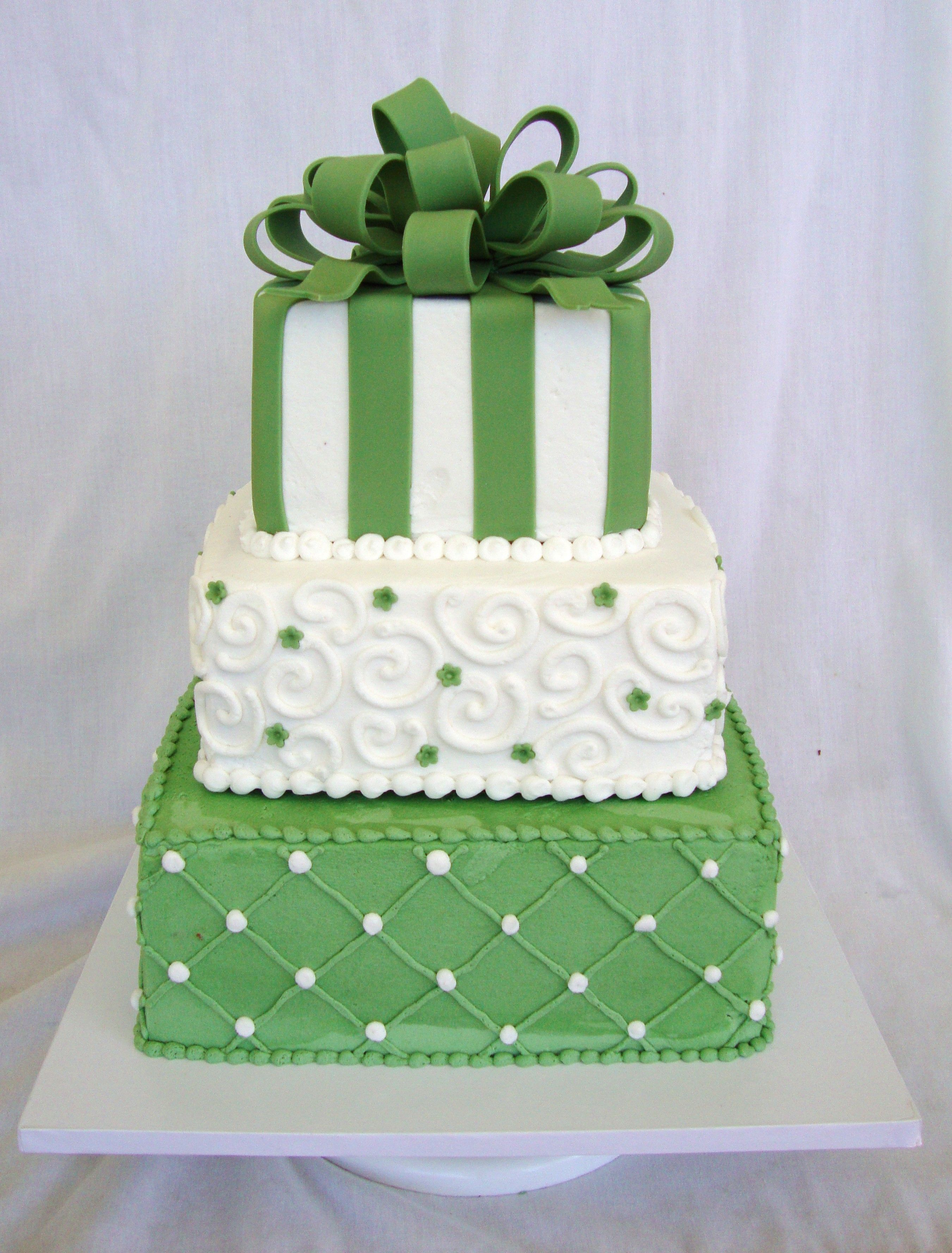 Fern Green Amp White Square Wedding Cake This Is A 6 8 10