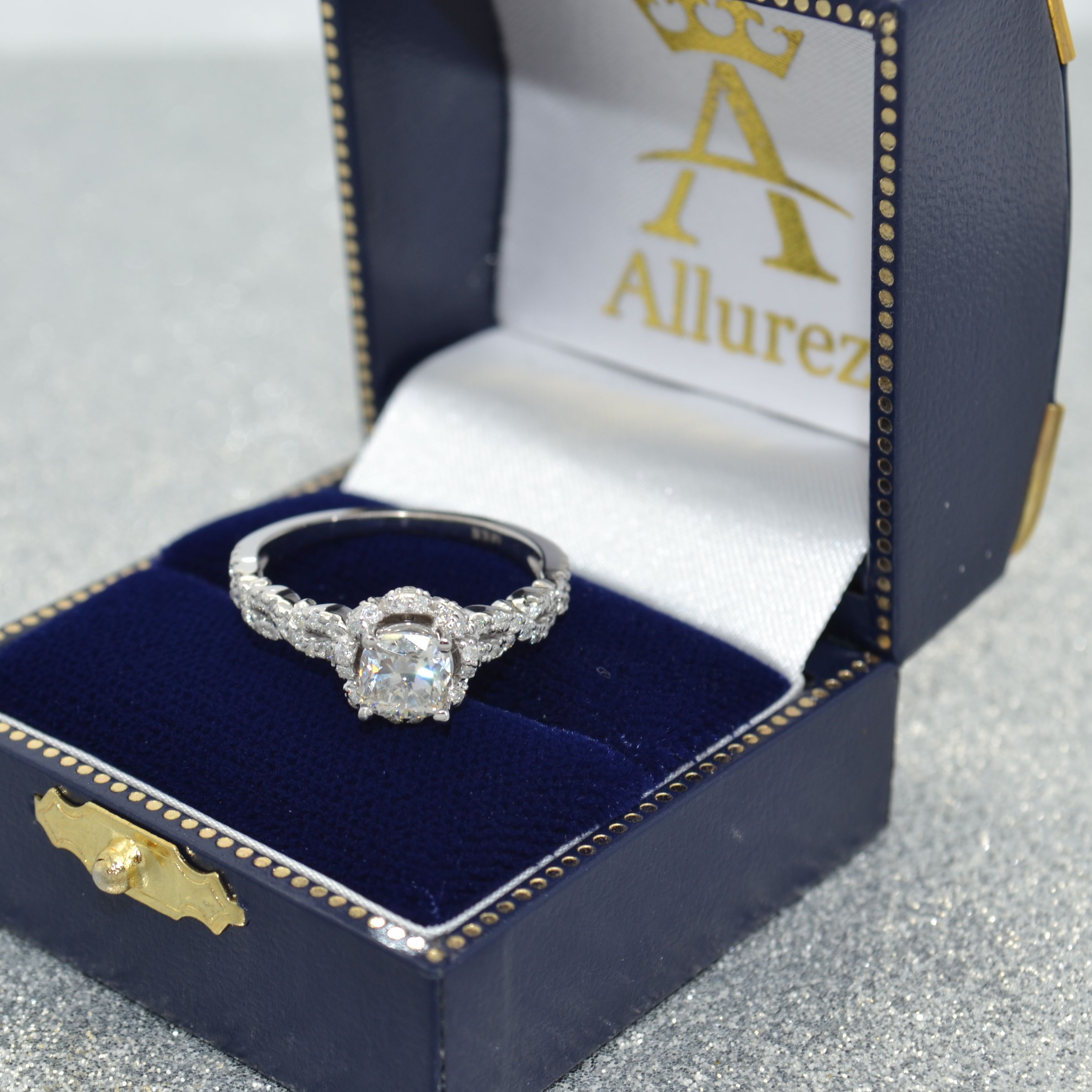 4b6a38bdf25 Twisted Halo Diamond Flower Engagement Ring Setting 14k W. Gold 0.63 ...