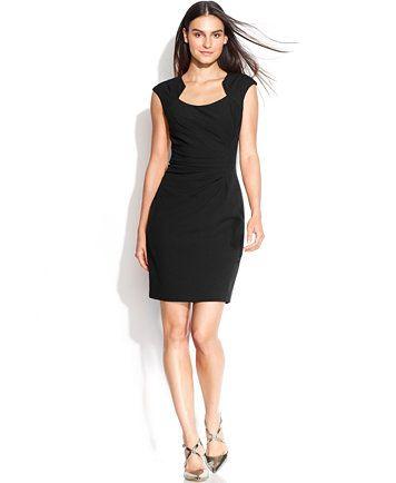 Calvin Klein Cap Sleeve Cutout Neckline Sheath Macys Dresses
