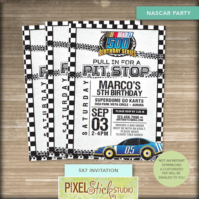 5x7 nascar race car birthday invitation race car party 5x7 nascar race car birthday invitation race car party filmwisefo Choice Image