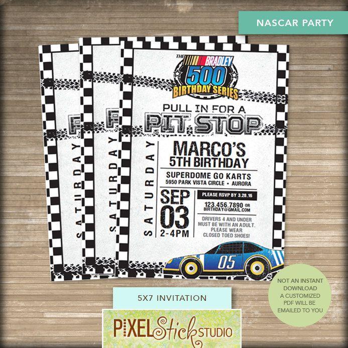 5x7 NASCAR Race Car Birthday #Invitation // Race Car #Party ...