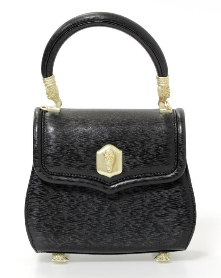 daaa1fac8a48 Barry Kieselstein-Cord Black Leather   Gold Alligator Detail Bag   BarryKieselsteinCord  ShoulderBag