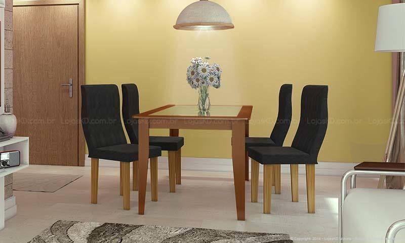 Conjunto para Sala de Jantar com Mesa e 4 Cadeiras Castanho Claro/Ypê/Imperial Preto - Caaza