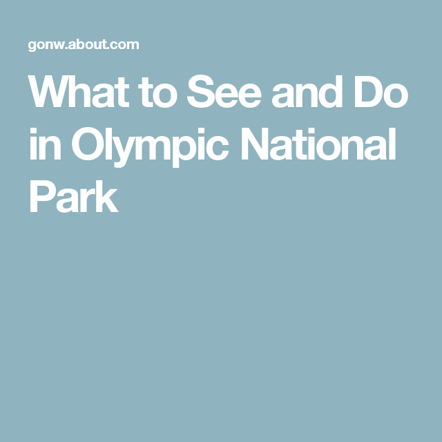 What to See and Do in Olympic National Park