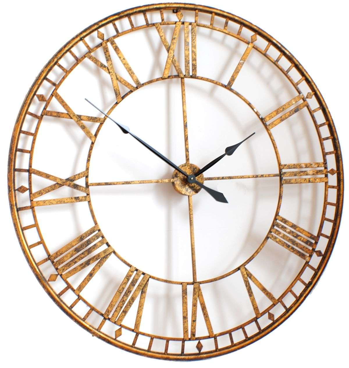 Another Antique Style Roman Large Skeleton Vintage Wall Clock Which Features Gold And Black Finish At Contemporary Heaven
