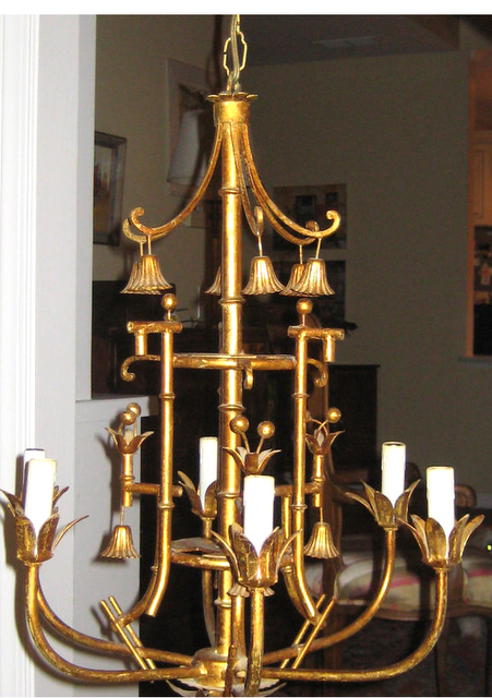 Gilt faux bamboo chandelier with bells for the home pinterest gilt faux bamboo chandelier with bells aloadofball Image collections