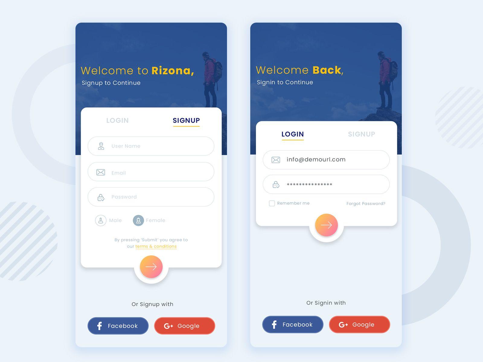 Login Signup   Android app design, Login design, Login page design