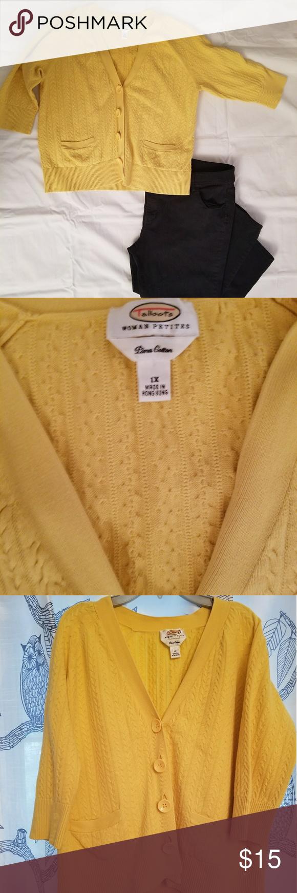 Talbot Woman Petite 1x Yellow Cardigan   Yellow cardigan, Talbots ...