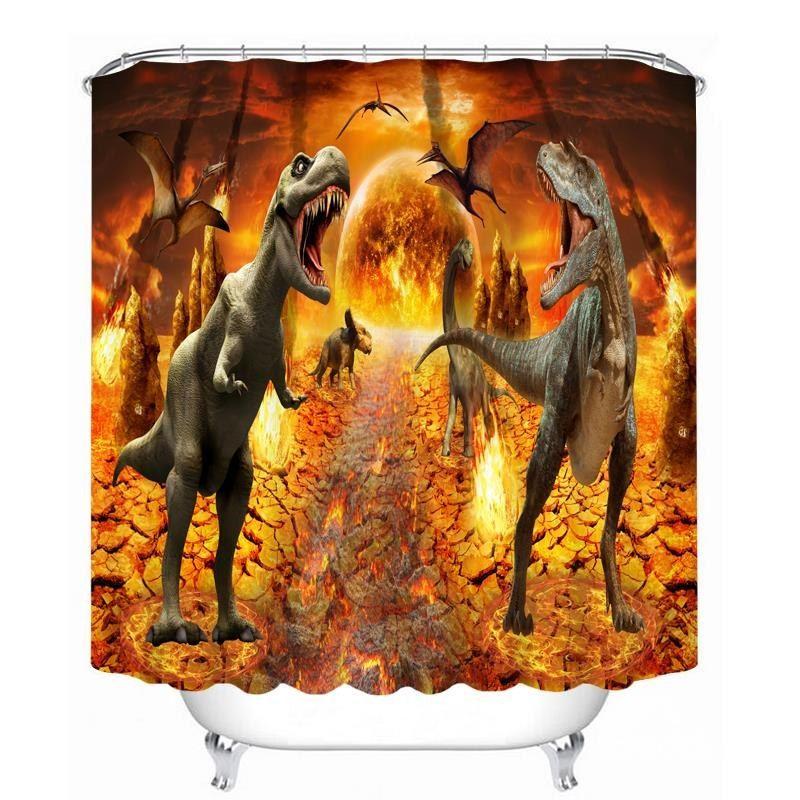 Couple Ferocious Dinosaurs 3D Printed Bathroom Waterproof Shower Curtain