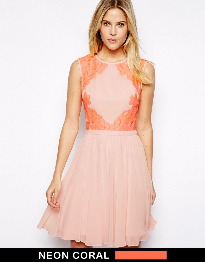 Ted Baker Neon Coral Pink Lace Dress | Bridesmaid Dresses | Pinterest