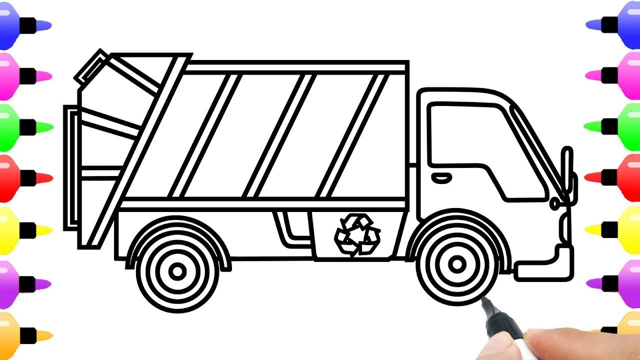 How To Draw Garbage Truck For Baby Children S Coloring Page
