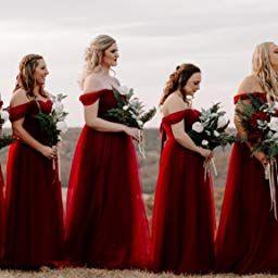 78b18e29d6 Fanciest Women s Off The Shoulder Tulle Long Bridesmaid Dresses 2018  Wedding Party Dress Black US2 at Amazon Women s Clothing store