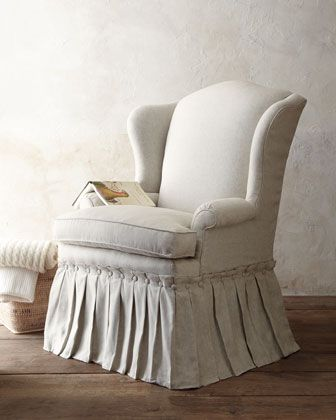 """""""Wright"""" Linen Skirted Chair at Horchow $1,699.00; love the skirt on this chair!"""
