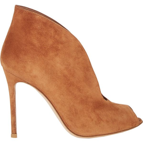 "Gianvito Rossi Women's ""Vamp"" Ankle Booties (8 770 UAH) ❤ liked on Polyvore featuring shoes, boots, ankle booties, ankle boots, booties, scarpe, brown, peep toe booties, peep toe ankle boots and high heel ankle boots"