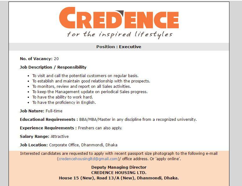 CREDENCE HOUSING LTD - Position  Executive - Jobs Circular 2017 - managing director job description