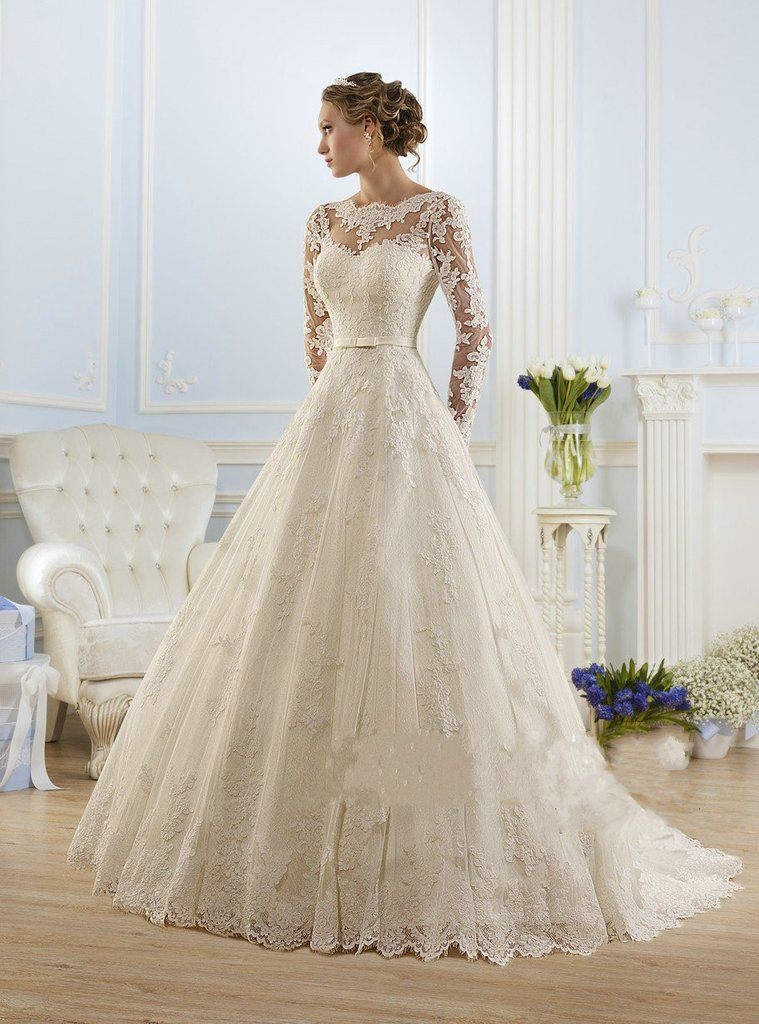 Luxury Long Sleeve Lace Appliques Low Back Wedding Dress Dream