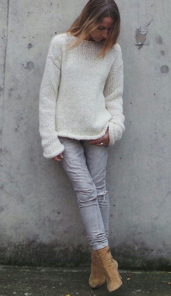 Ivory white sweater women s slouchy alpaca sweater over-sized ... 44146eca85a3