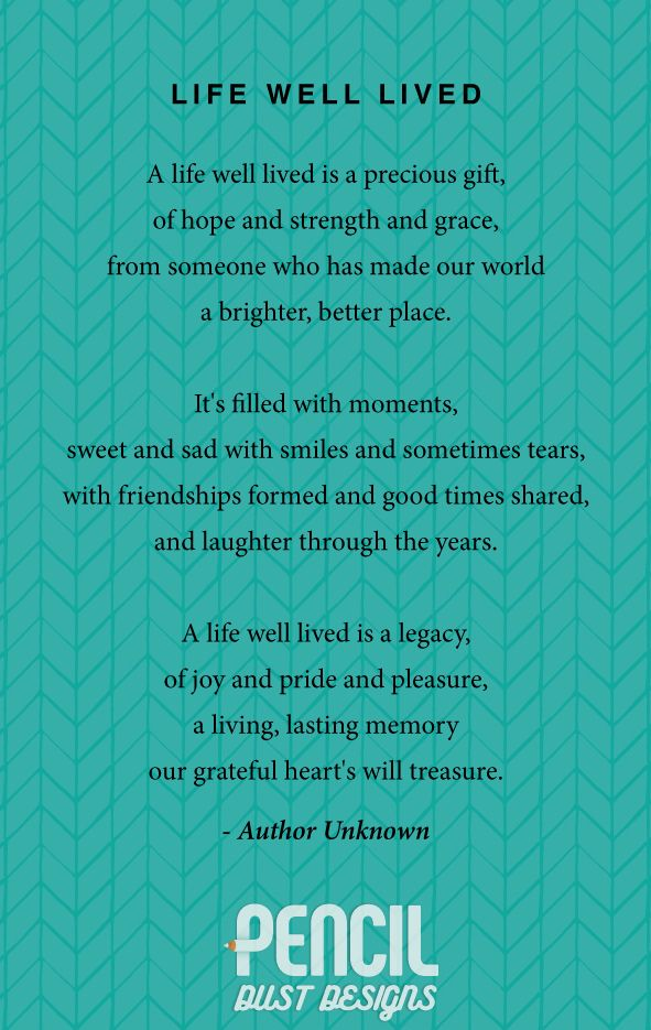 Life Well Lived A Collection Of Non Religious Funeral Poems That