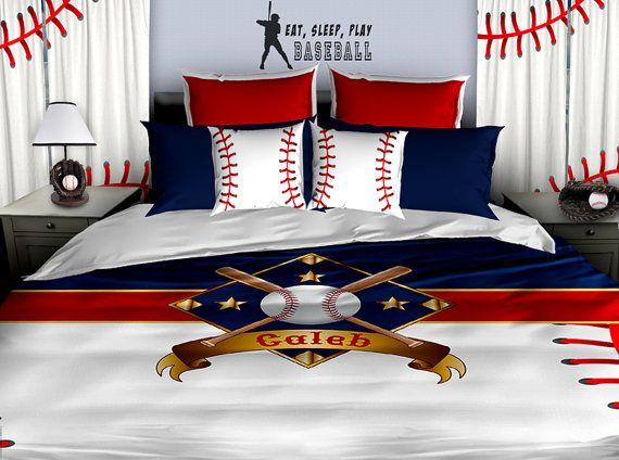 Personalized Baseball Bedding Baseball Duvet Baseball Etsy Baseball Themed Bedroom Baseball Bed Baseball Theme Room