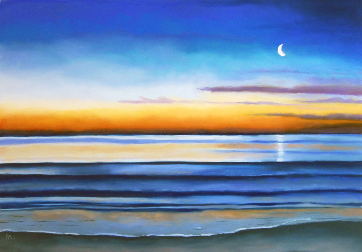 Morning Tide painting / seascape /  18 x 26 pastel painting ,unframed $250