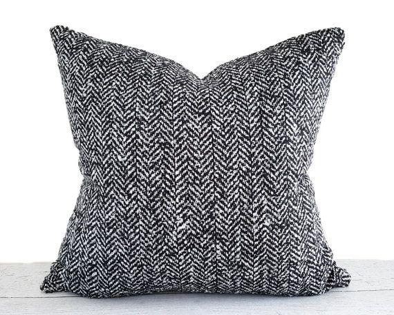 Black White Herringbone Pillow Cover