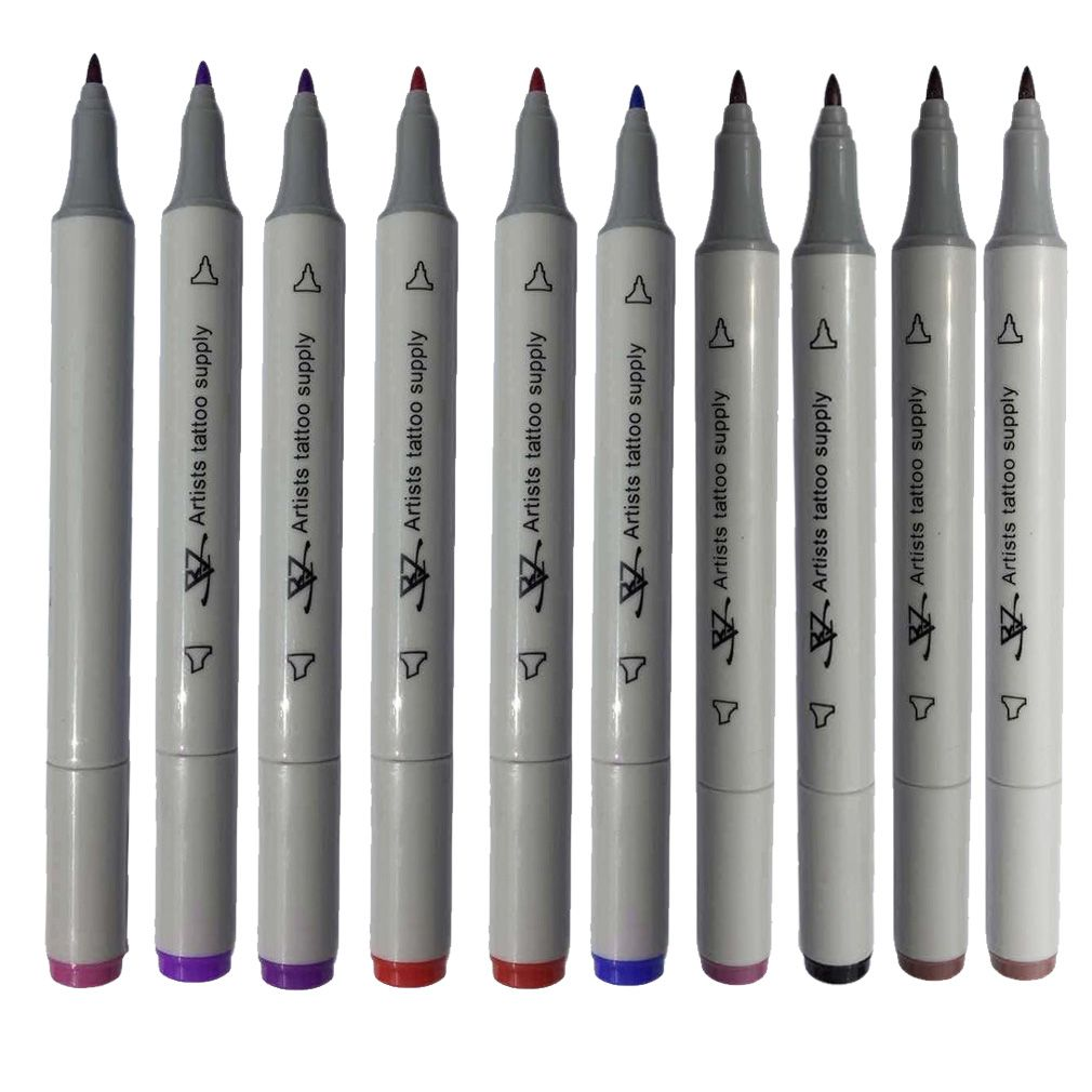 10 Color Body Art Tattoo Supply Pen Dual Tip Double End Tattoo