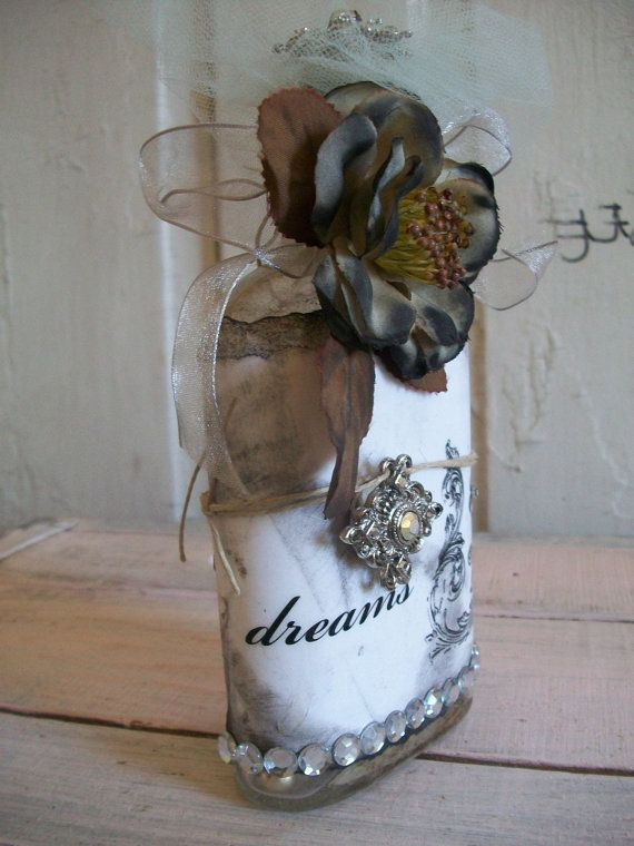 Decorative glass bottle altered home decor by AnitaSperoDesign