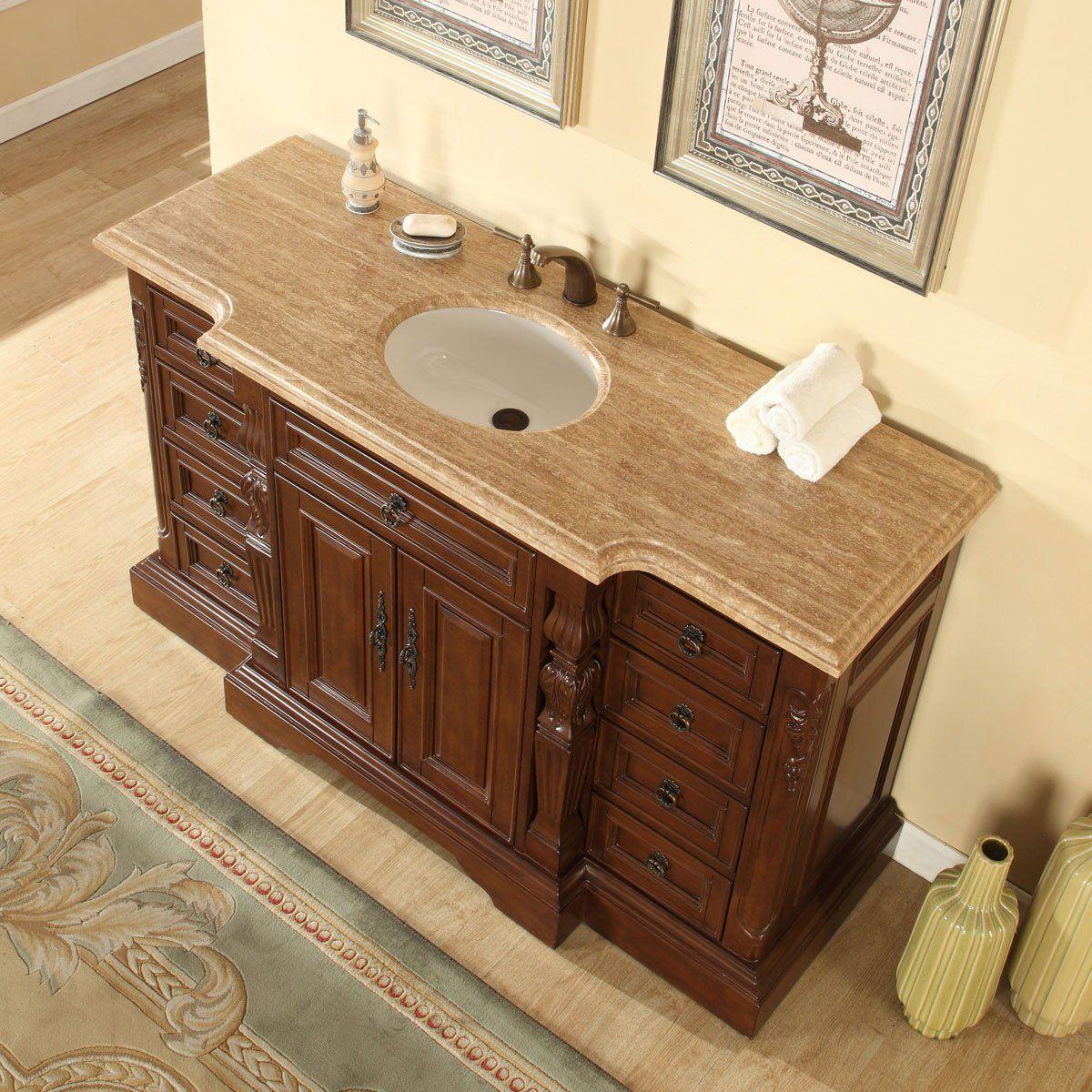 Silkroad Exclusive Bathroom Vanity Travertine Top Single Sink Cabinet 60