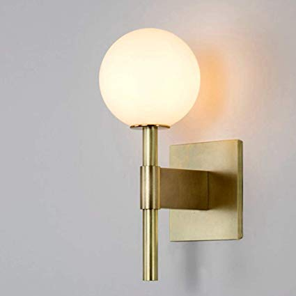 Injuicy Glass Ball Wall Sconce Satin Brass With Frosted Glass Globe Wall Light Fixtures For Restauran Brass Wall Light Glass Wall Lights Wall Lighting Design