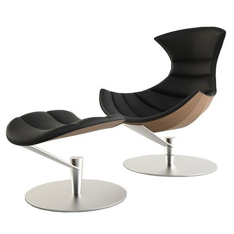Ordinaire Space Age Black Leather Lounge Chair And Ottoman Set