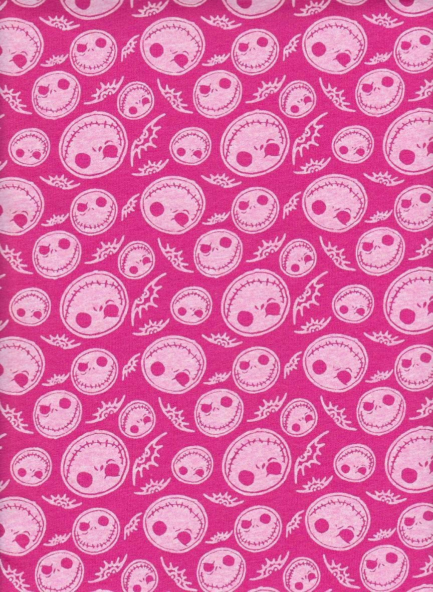 Jack Skellington Skeleton on PINK Cotton Jersey Fabric inspired by ...