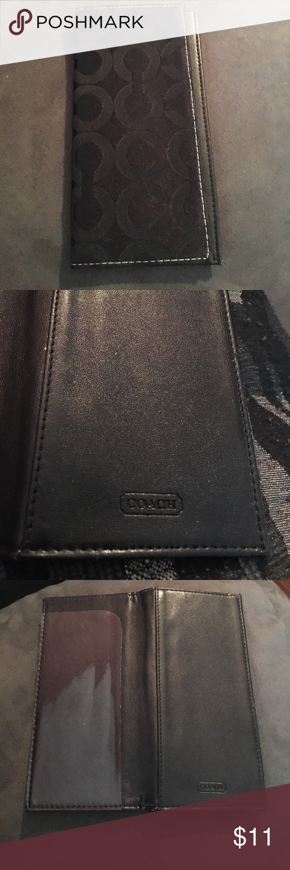 Coach Signature C's Checkbook Cover Great used condition.Nice upgrade for your checkbook and helps you find it in your purse or drawer. Bags Wallets