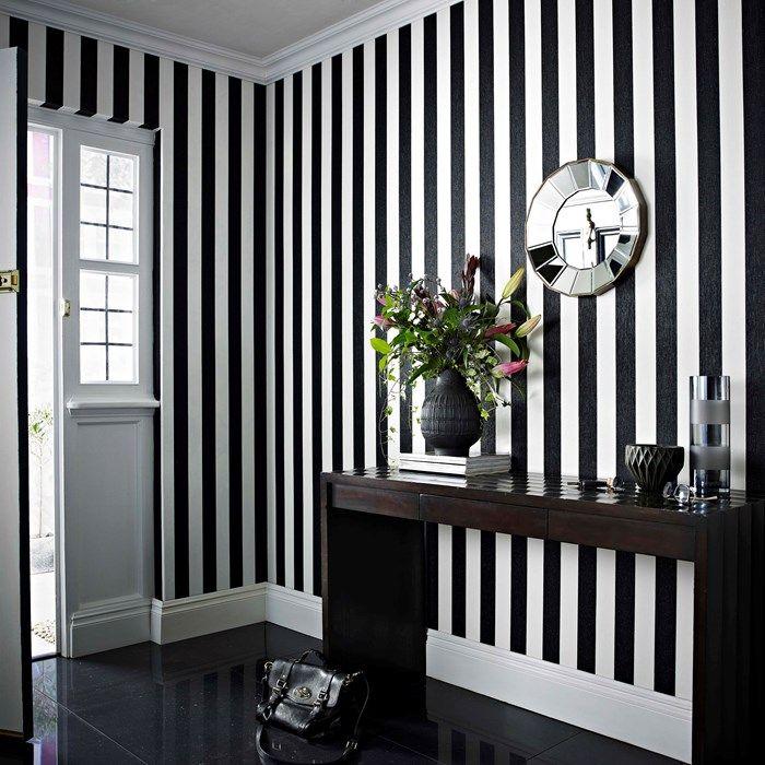 Glitterati Black White Stripe Wallpaper Bedroom Striped Walls Striped Wallpaper