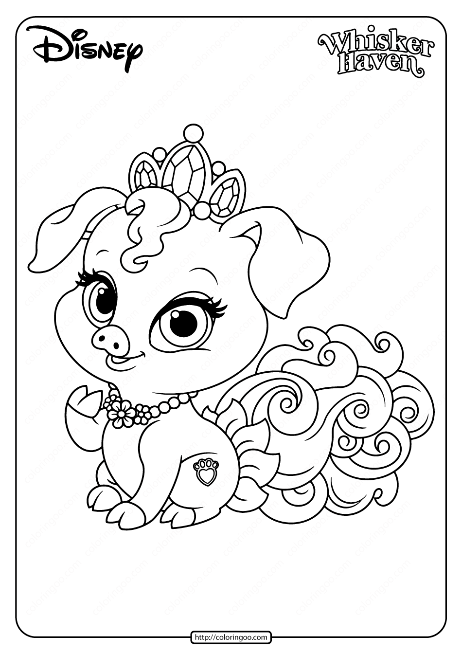 Printable Palace Pets Truffles Pdf Coloring Page In 2020 Puppy Coloring Pages Princess Puppies Disney Princess Palace Pets