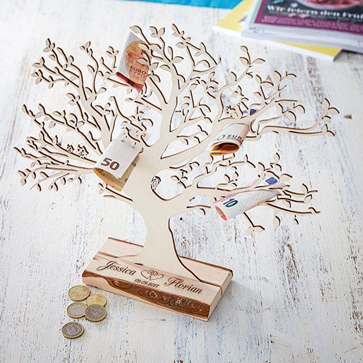 Geldbaum Aus Holz Mit Gravur Personalisiert Mit Namen Und Datum