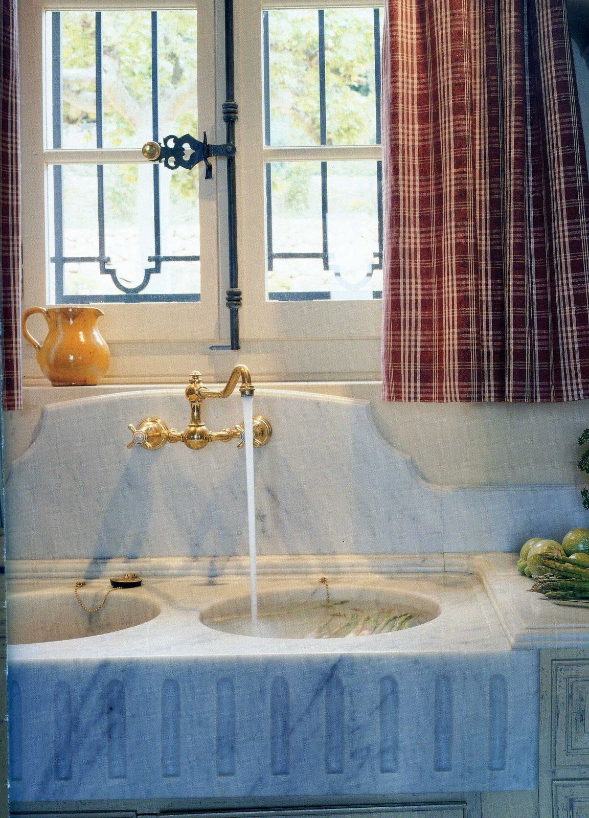 Old World Tudor kitchen with marble sink + Herbeau faucet in ...
