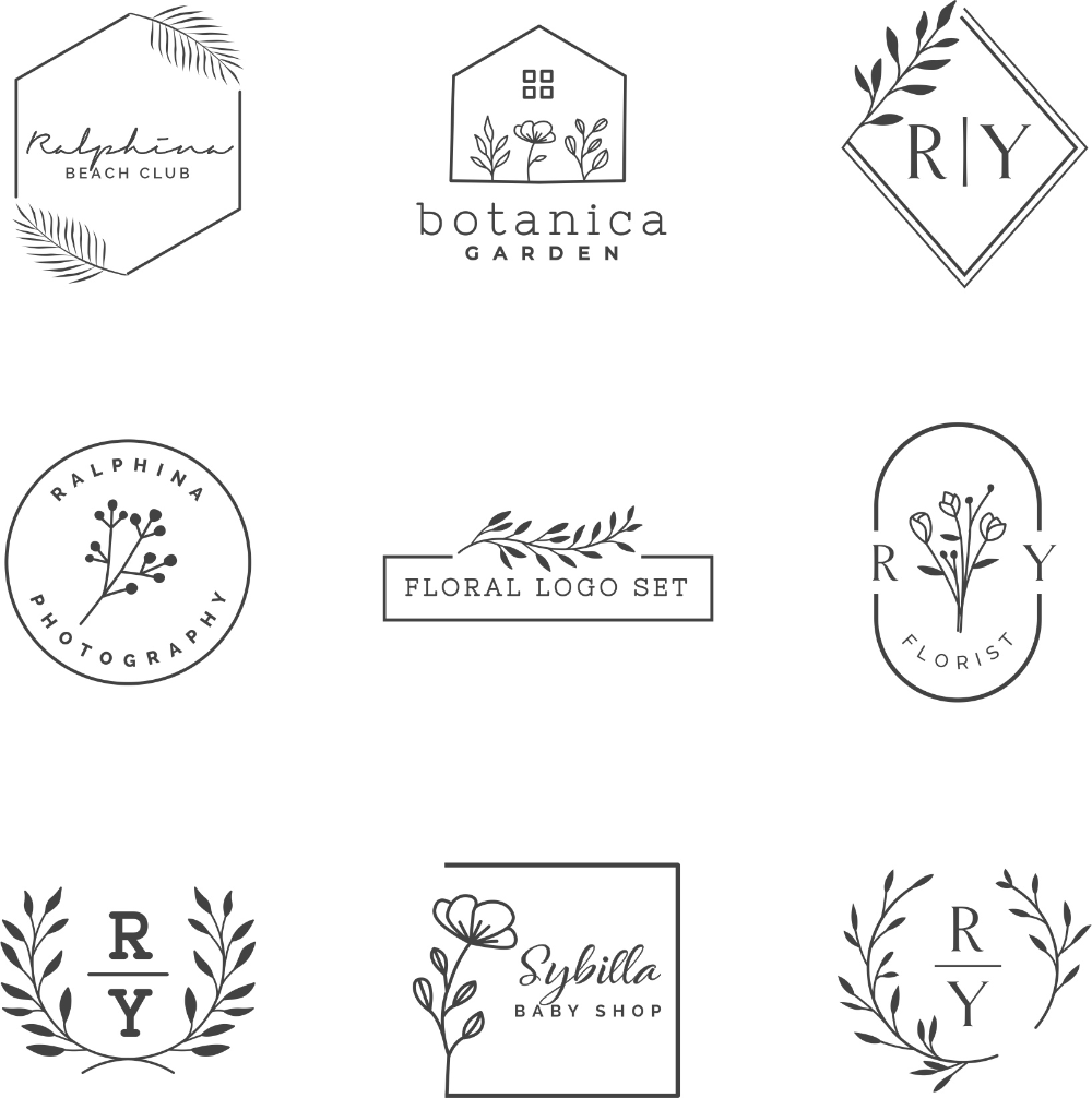 Floral Logo Design Set Free Vector cdr Download 3axis.co