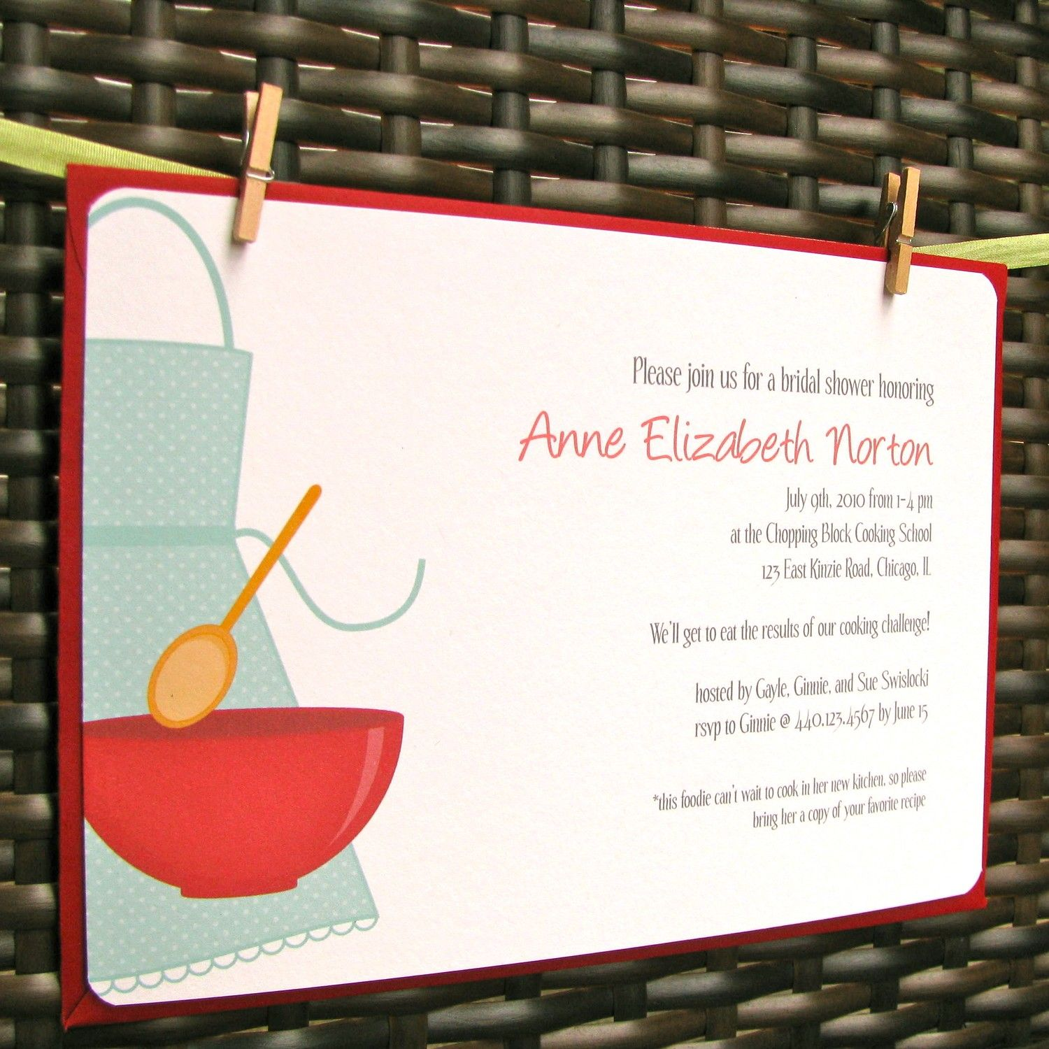 KITCHEN bridal shower or COOKING themed shower INVITATION $1 75