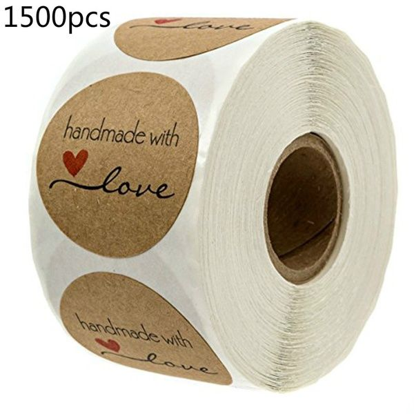 Supplies Wedding Decor Kraft Stickers Handmade with Love Package Label Tag