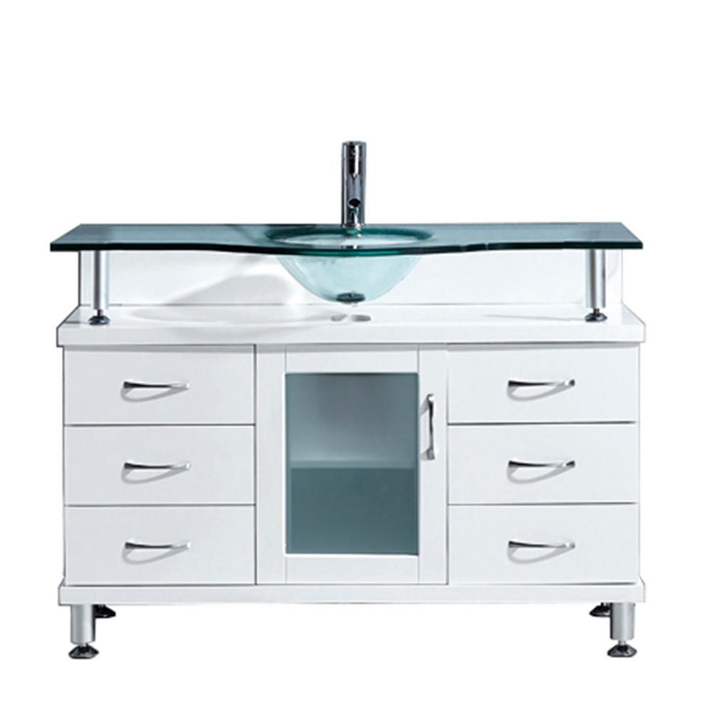 Virtu USA Vincente 48 in. W Bath Vanity in White with