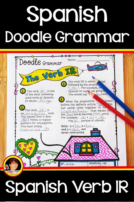Spansih Verb Ir Verb To Go In Spanish Spanish Verbs World Language Classroom Doodle Notes [ 1440 x 960 Pixel ]