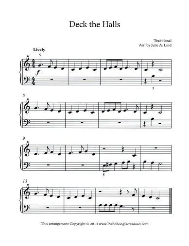 deck the halls free piano music   sheet music, easy piano sheet music, piano  sheet music  pinterest