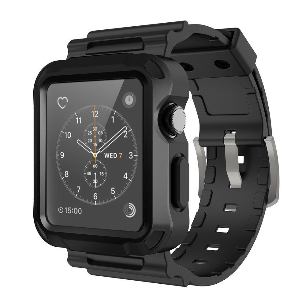 Simpeak Black Rugged Protective Case With Strap Bands For Le Watch 42mm