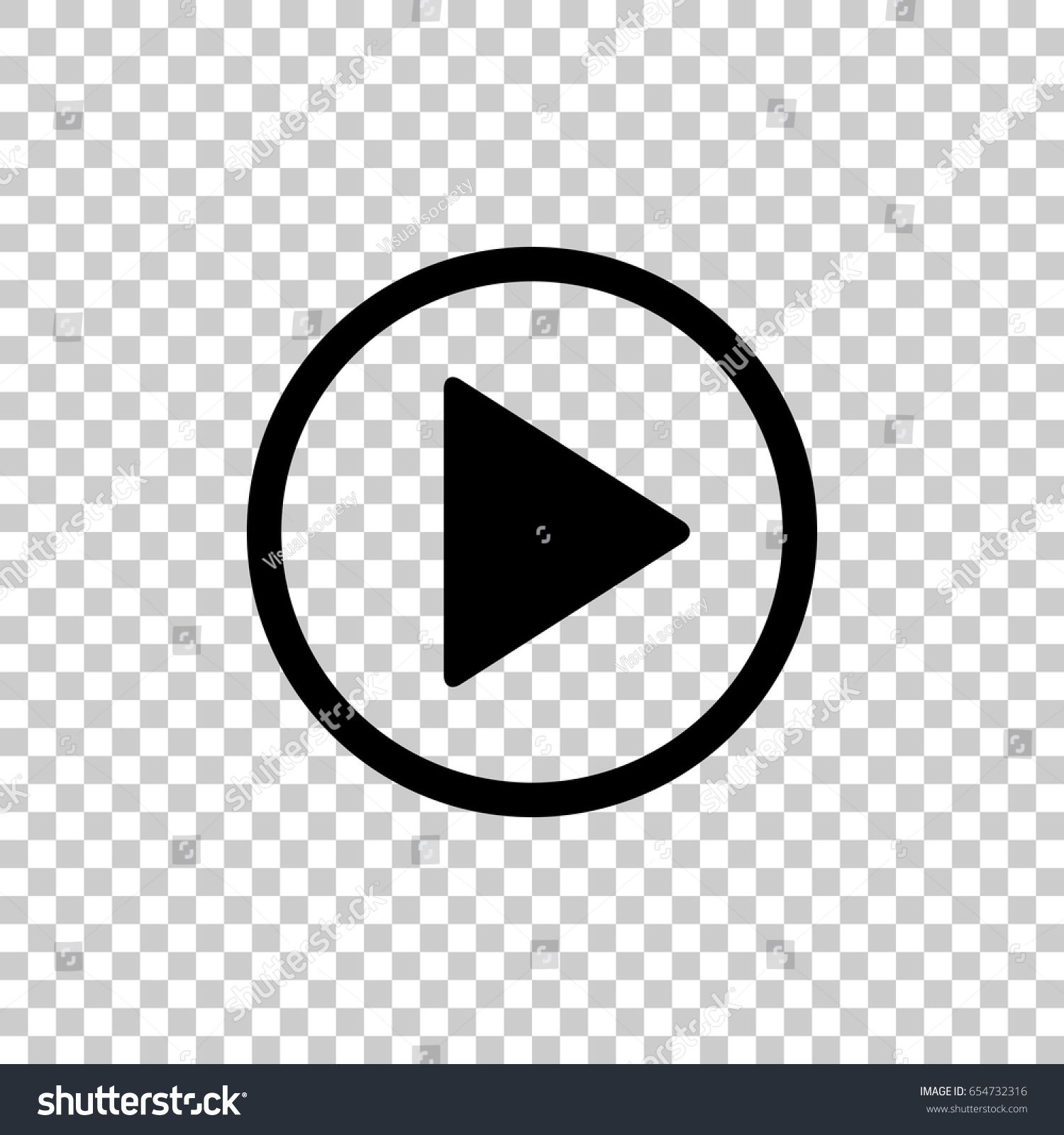 Play button icon isolated on transparent background. Black