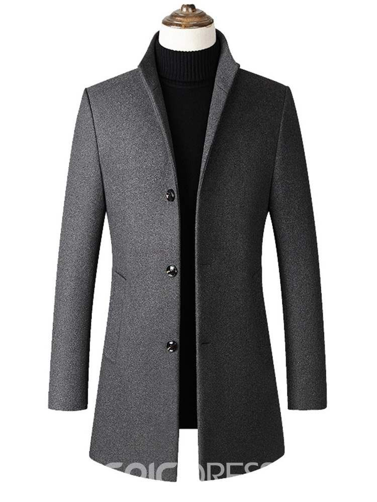 e8b4f975be0 Ericdress Plain Stand Collar Mid-Length Mens Slim Wool Coat