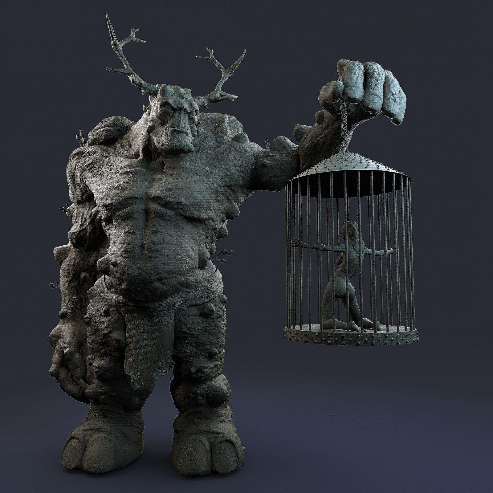 Troll, Grigory Rudenko on ArtStation at https://www.artstation.com/artwork/q2lxy