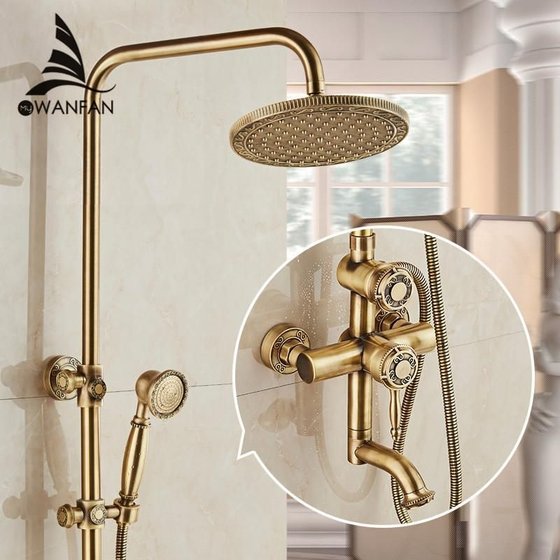 Luxury Antique Brass Carving Rainfall Shower Sets Faucet Mixer Tap